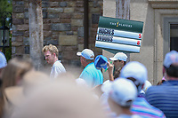 The Tiger Woods (USA) and Mackenzie Hughes (CAN) scoreboard makes its way from the green on 18 during round 3 of The Players Championship, TPC Sawgrass, at Ponte Vedra, Florida, USA. 5/12/2018.<br /> Picture: Golffile | Ken Murray<br /> <br /> <br /> All photo usage must carry mandatory copyright credit (&copy; Golffile | Ken Murray)