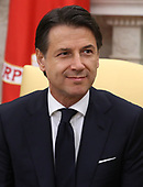 Prime Minister of the Italian Republic Giuseppe Conte meets with United States President Donald J. Trump in the Oval Office on July 30, 1018 in Washington, DC. Among the topics to be discussed is trade and NATO. <br /> Credit: Mark Wilson / Pool via CNP