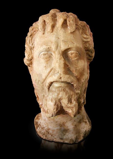 Roman sculpture of the Emperor Septime Severe, excavated  from Choud El Battan sculpted circa 193-211AD. The Bardo National Museum, Tunis, Inv No: C.73