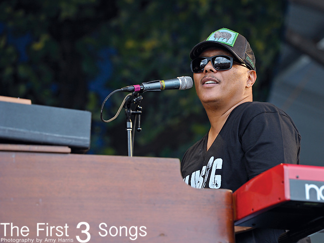 Ivan Neville of Dumpstaphunk performs during the New Orleans Jazz & Heritage Festival in New Orleans, LA on May 3, 2012.