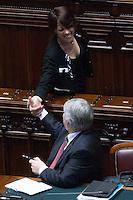 Nunzia De Girolamo e Giuliano Poletti si stringono la mano<br /> Roma 23-04-2014 Camera. Voto di fiducia sul Decreto DL Lavoro.<br /> Trust vote on job laws<br /> Photo Samantha Zucchi Insidefoto