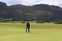 Ryan Lumsden from Scotland on the 1st green during Round 1 Singles of the Men's Home Internationals 2018 at Conwy Golf Club, Conwy, Wales on Wednesday 12th September 2018.<br /> Picture: Thos Caffrey / Golffile<br /> <br /> All photo usage must carry mandatory copyright credit (&copy; Golffile | Thos Caffrey)