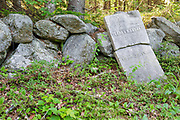 Thomas Bryant headstone at the Gilman-Hall Cemetery along Sandwich Notch Road in Sandwich, New Hampshire USA. During the early nineteenth century thirty to forty families were part a hill farm community in the Notch. By 1860 only eight families lived in the Notch and by the turn of the twentieth century only one person, Moses Hall, lived in the Notch year around. Now a private residence the Hall Place is the only house left on the Notch Road.