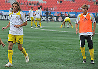 Frankie Hejduk (2) and Brian Carroll (16) for the Columbus Crew warm up at  BMO Field on Saturday September 13, 2008. .The game ended in a 1-1 draw.