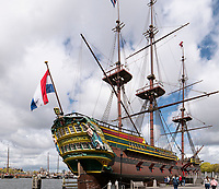 nachgebauter Ostindiensegler Amsterdam im Scheepvaartmuseum, Amsterdam, Provinz Nordholland, Niederlande<br /> Rebuild East India Ship in Scheepvaartmuseum, Kattenburgerplein 1, Amsterdam, Province North Holland, Netherlands