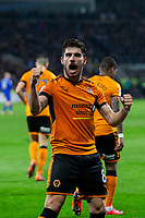 Ruben Neves of Wolverhampton Wanderers celebrates scoring his side's first goal during the Sky Bet Championship match between Cardiff City and Wolverhampton Wanderers at the Cardiff City Stadium, Cardiff, Wales on 6 April 2018. Photo by Mark  Hawkins / PRiME Media Images.