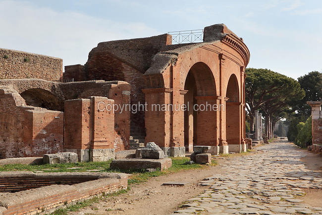 Theatre, along the Decumanus, 12BC, Ostia Antica, Italy. It is one of the earliest building made of bricks. Its present aspect refers to 1940 after the reconstruction by the archeologist Calza and the architect Gismondi. Picture by Manuel Cohen