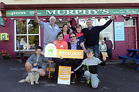 21-9-2017: Mary Murphy, Post Mistress, Rerrin Post Office on Bere Island in County Cork after she sold a 500,000 Euro Millions Plus ticket pictured celebrating on Thursday with family, Kitty Murphy-Walker, Edel Murphy, Albert Walker, Mary Murphy, Edel Murphy Olan Murphy, Brendain Murphy and Brendan Murphy.<br />  Photo: Don MacMonagle<br /> <br /> Issued on behlf of The National Lottery