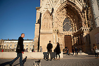 Entrance to the cathedral of Notre-Dame de Reims, Reims, France, 11 November 2015. Around a million people visit the cathedral every year.