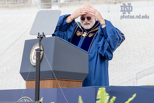 "May 21, 2017; ""Wow. I had no idea I was bald,"" joked Rev. Gregory J. Boyle, S.J. as he began his Laetare Medal address at Commencement 2017. (Photo by Matt Cashore/University of Notre Dame)"