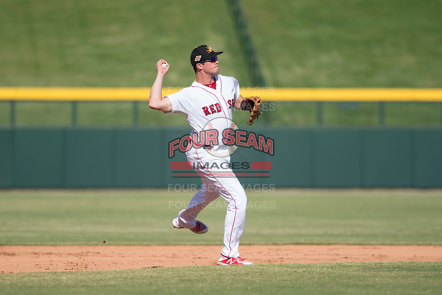 Mesa Solar Sox third baseman Bobby Dalbec (11), of the Boston Red Sox organization, throws to first base during an Arizona Fall League game against the Peoria Javelinas at Sloan Park on October 24, 2018 in Mesa, Arizona. Mesa defeated Peoria 4-3. (Zachary Lucy/Four Seam Images)