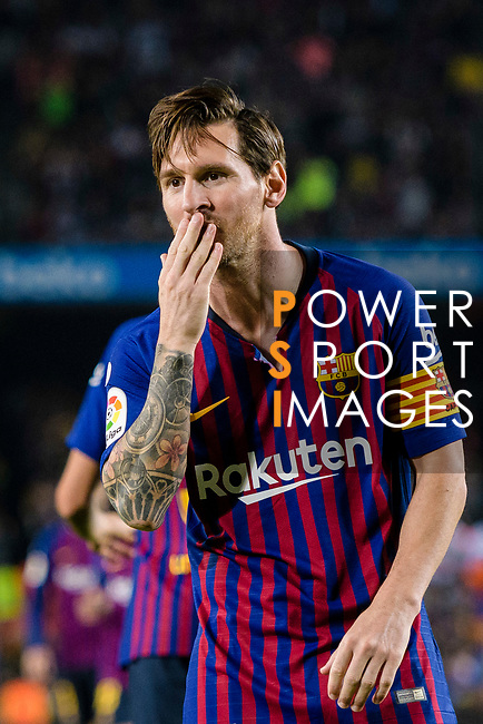 Lionel Messi of FC Barcelona celebrating his score during the La Liga 2018-19 match between FC Barcelona and Sevilla FC at Camp Nou Stadium on October 20 2018 in Barcelona, Spain. Photo by Vicens Gimenez / Power Sport Images