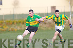 Aidan Keane of Moyvane breaks away from Lispole's Ciaran O'Sullivan in the county league, division 4 played in Moyvane last Saturday.