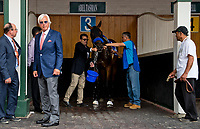 LOUISVILLE, KY - MAY 04: Bob Baffert stands near by as Abel Tasman gets a bath on Kentucky Oaks Day at Churchill Downs on May 4, 2018 in Louisville, Kentucky. (Photo by Eric Patterson/Eclipse Sportswire/Getty Images)