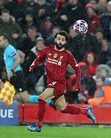11th March 2020; Anfield, Liverpool, Merseyside, England; UEFA Champions League, Liverpool versus Atletico Madrid;  Mohammed Salah of Liverpool controls  the ball