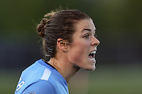 Piscataway, NJ, May 7, 2016.  Kelley O'Hara of Sky Blue FC yells instructions on a throw-in.  The Western New York Flash defeated Sky Blue FC, 2-1 during a National Women's Soccer League (NWSL) match at Yurcak Field.