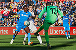 Gareth Bale of Real Madrid and Djene Dakoman (L) and David Soria (R) of Getafe FC during La Liga match between Getafe CF and Real Madrid at Coliseum Alfonso Perez in Getafe, Spain. January 04, 2020. (ALTERPHOTOS/A. Perez Meca)