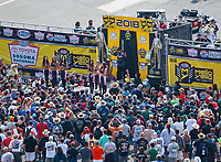 Jul 29, 2018; Sonoma, CA, USA; Fans look on as NHRA funny car driver Cruz Pedregon is introduced during driver introductions for the Sonoma Nationals at Sonoma Raceway. Mandatory Credit: Mark J. Rebilas-USA TODAY Sports