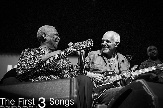 B.B. King and Peter Frampton perform during the Frampton's Guitar Circus at Riverbend Music Center in Cincinnati, Ohio.