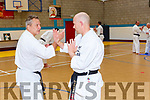 Sensie Patrick Rault gives a karate demonstration to Marc Dourieu in Killorglin on Saturday