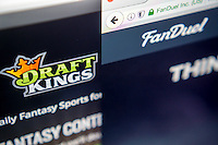 The websites of the fantasy sports sites DraftKings and FanDuel are seen on a computer screen on Tuesday, June 14, 2016. DraftKings and FanDuel are reported to be discussing a merger agreement. (© Richard B. Levine)