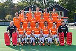 BLOEMENDAAL - Teamfoto: voor vlnr keeper Maurits Visser (Bldaal) , Florian Fuchs (Bldaal) , Roel Bovendeert (Bldaal) , Glenn Schuurman (Bldaal) , Arthur van Doren (Bldaal) , Thierry Brinkman (Bldaal) , Dirk Jan Glas (Bldaal).<br /> midden:  Floris Wortelboer (Bldaal) , Sander 't Hart (Bldaal) , Mats de Groot (Bldaal), Jorrit Croon (Bldaal), Tim Swaen (Bldaal) , <br /> achter: , Kiet Citroen, , Yannick van der Drift (Bldaal) , Oliver Polkamp, Martijn van Grimbergen, Caspar van Dijk, Jasper Brinkman (Bldaal) , Heren I van HC Bloemendaal , seizoen 2019/2020.   COPYRIGHT KOEN SUYK