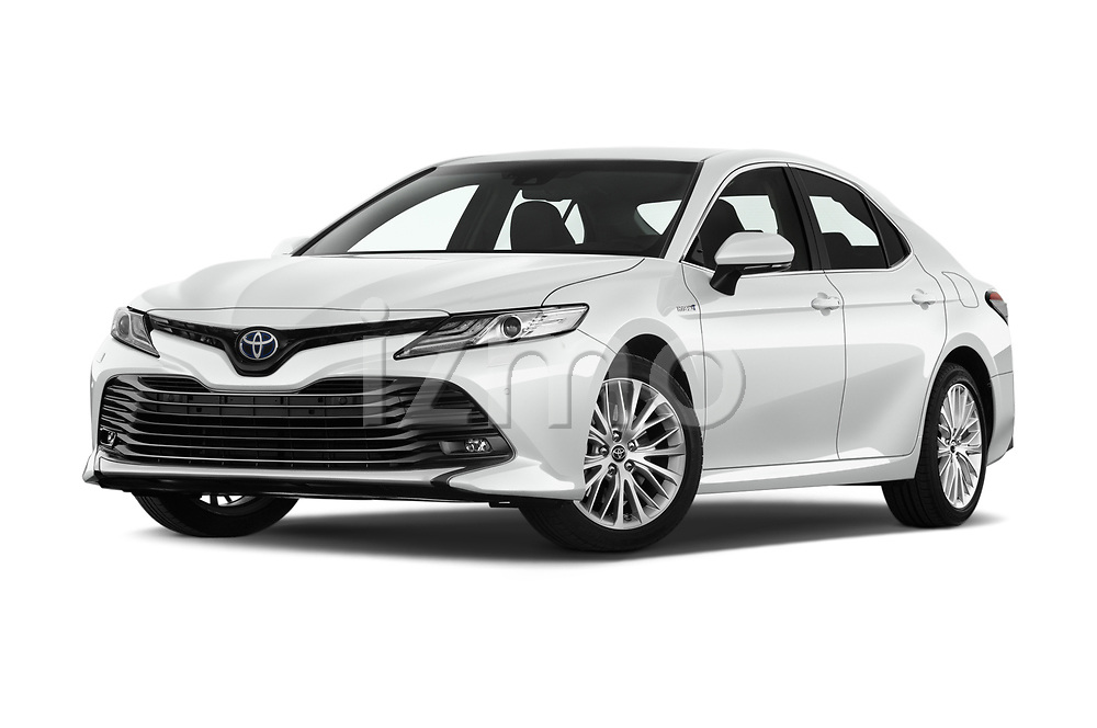 Stock pictures of low aggressive front three quarter view of a 2019 Toyota Camry Premium 4 Door Sedan