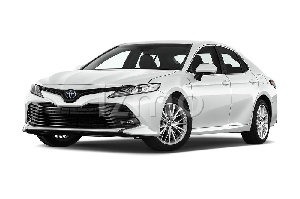 Stock pictures of low aggressive front three quarter view of a 2019 Toyota Camry Premium 4 Door Sedan