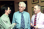 Tom Hodgins, Drogheda Ecumenical Peace Group, Chris Hudson, Chairman Peace Train Organisation and Roy Garland at the seminar by Chris in the Glenside Hotel..Picture Paul Mohan Newsfile