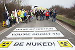 A march at Hinkley Nuclear power station,  Somerset  against  the UK government's choice of Nuclear power as the mainstay of England's power supply. Over 1000 people turned up  to the demo, one of the largest anti-nuclear protests the UK has seen