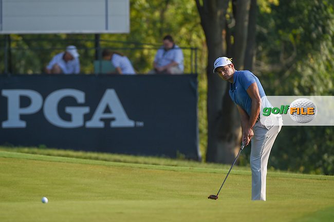 Julian Suri (USA) watches his putt on on 9 during 2nd round of the 100th PGA Championship at Bellerive Country Club, St. Louis, Missouri. 8/11/2018.<br /> Picture: Golffile | Ken Murray<br /> <br /> All photo usage must carry mandatory copyright credit (© Golffile | Ken Murray)