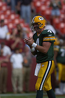 31 October 2004:  Brett Favre laughs during warmups.<br />