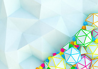 Contrast between plain low poly surface and multi coloured polyhedrons