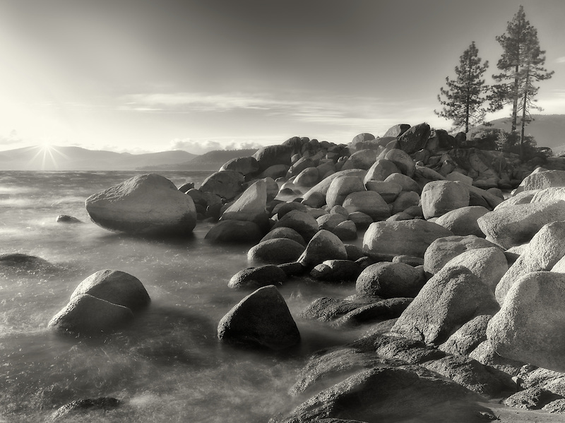 Sunset and rocks on Lake Tahoe. Sand Harbor State Park, Nevada