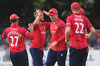 Jamie Porter of Essex celebrates taking the wicket of Michael Lumb during Essex Eagles vs Notts Outlaws, Royal London One-Day Cup Semi-Final Cricket at The Cloudfm County Ground on 16th June 2017