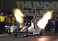 Jun 19, 2015; Bristol, TN, USA; NHRA top fuel driver Larry Dixon during qualifying for the Thunder Valley Nationals at Bristol Dragway. Mandatory Credit: Mark J. Rebilas-