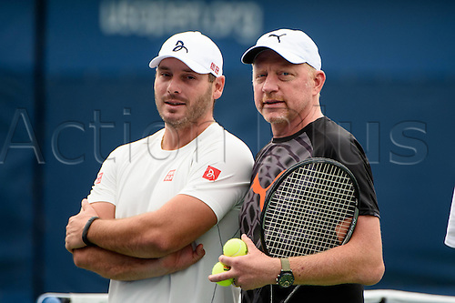 31.08.2015. New York, NY, USA.  Boris Becker (GER) during practice with Novak Djokovic at the 2015 U.S. Open Tennis Championships at the USTA Billie Jean King National Tennis Center in Flushing, Queens, New York, USA.