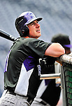 22 April 2010: Colorado Rockies' right fielder Brad Hawpe awaits his turn in the batting cage prior to a game against the Washington Nationals at Nationals Park in Washington, DC. The Rockies shut out the Nationals 2-0 gaining a 2-2 series split. Mandatory Credit: Ed Wolfstein Photo