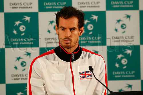 04.03.2016. Barclaycard Arena, Birmingham, England. Davis Cup Tennis World Group First Round. Great Britain versus Japan. Andy Murray during his post match press conference after his straight sets win over Taro Daniel.