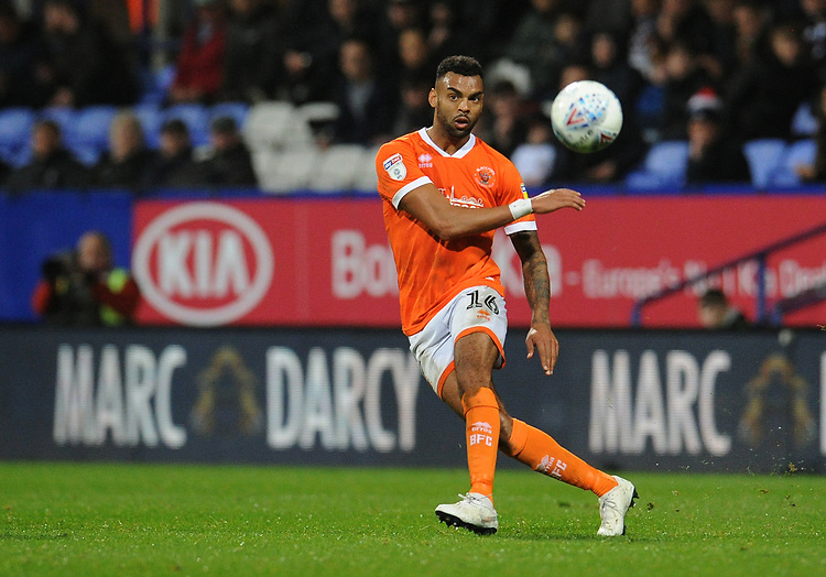 Blackpool's Curtis Tilt<br /> <br /> Photographer Kevin Barnes/CameraSport<br /> <br /> The EFL Sky Bet League One - Bolton Wanderers v Blackpool - Monday 7th October 2019 - University of Bolton Stadium - Bolton<br /> <br /> World Copyright © 2019 CameraSport. All rights reserved. 43 Linden Ave. Countesthorpe. Leicester. England. LE8 5PG - Tel: +44 (0) 116 277 4147 - admin@camerasport.com - www.camerasport.com