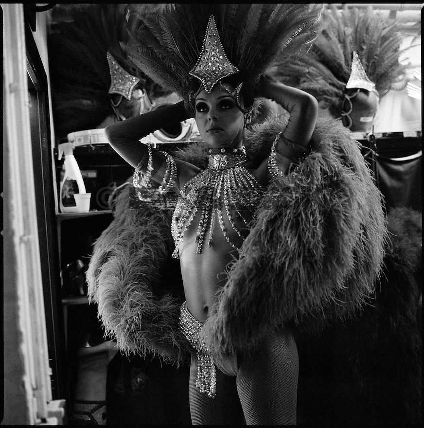 Backstage at the Moulin Rouge in Paris, France.