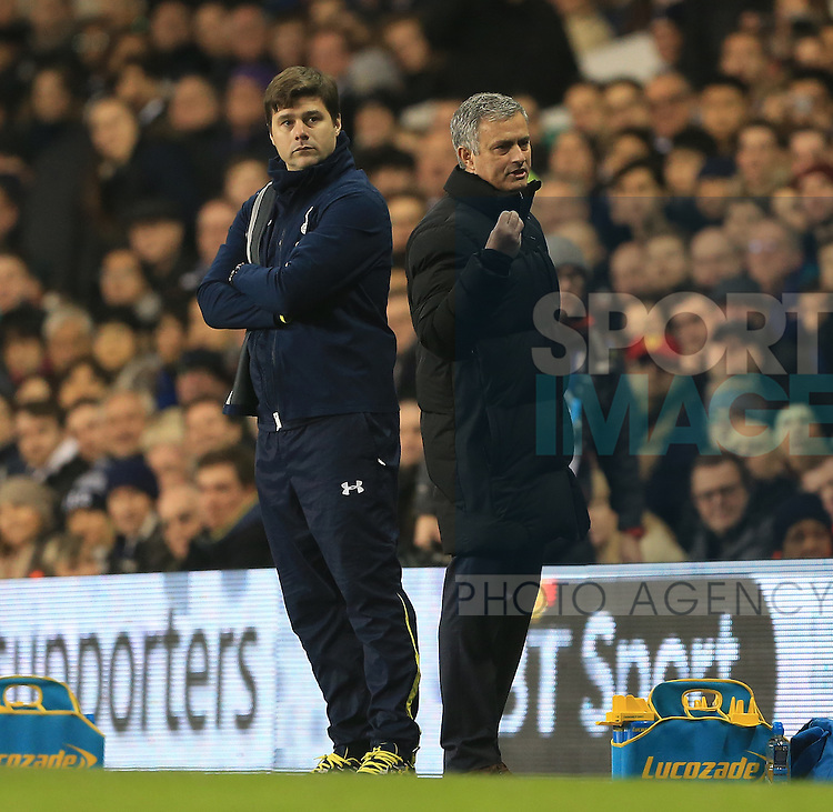 Tottenham's Mauricio Pochettino with Chelsea's Jose Mourinho<br /> <br /> Barclays Premier League - Tottenham Hotspur vs Chelsea - White Hart Lane  - England - 1st January 2015 - Picture David Klein/Sportimage