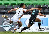 PICTURE BY MARK GREEN/SWPIX.COM...Rugby League - Carnegie Challenge Cup 4th Round  - London Broncos v Dewsbury Rams , 'The Stoop, Twickenham, England - 15/04/12... London Bronco's  Kieran Dixon evades the Dewsbury defense for his 1st try