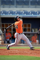 Baltimore Orioles Nick Horvath (94) follows through on a swing during a Florida Instructional League game against the Tampa Bay Rays on October 1, 2018 at the Charlotte Sports Park in Port Charlotte, Florida.  (Mike Janes/Four Seam Images)