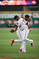 Rochester Red Wings Nick Gordon (1) and Jordany Valdespin (23) handshake before an International League game against the Buffalo Bisons on May 31, 2019 at Frontier Field in Rochester, New York.  Rochester defeated Buffalo 5-4 in ten innings.  (Mike Janes/Four Seam Images)