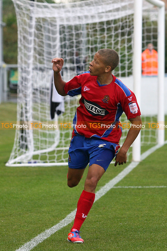 Dwight Gayle of Dagenham celebrates scoring the opening Daggers goal -  Dagenham and Redbridge vs Gillingham at the London Borough of Barking and Dagenham  Stadium  - 25/08/12 - MANDATORY CREDIT: Dave Simpson/TGSPHOTO - Self billing applies where appropriate - 0845 094 6026 - contact@tgsphoto.co.uk - NO UNPAID USE.