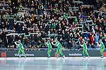 Stockholm 2014-01-10 Bandy Elitserien Hammarby IF - Sandvikens AIK :  <br />  Hammarby spelare &auml;lskar p&aring; Hammarby supportrar innan matchen<br /> (Foto: Kenta J&ouml;nsson) Nyckelord:  supporter fans publik supporters glad gl&auml;dje lycka leende ler le jubel gl&auml;dje lycka glad happy