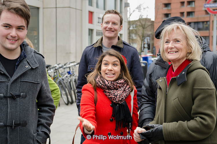 Tulip Siddiq and Glenys Kinnock.  General election 2015: Tulip Siddiq, Labour candidate for Hampstead & Kilburn, the second most marginal seat in the UK, canvasses voters in Swiss Cottage.