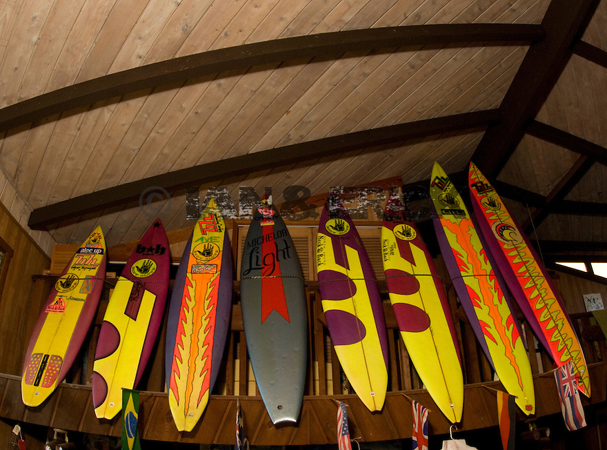 Hawaiian legend Mark Foo's surboards at the Backpackers on the Northshore in Hawaii