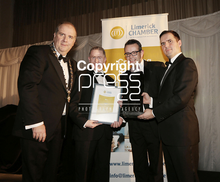 21/11/2014  WITH COMPLIMENTS.   Attending the Chamber Presidents Dinner and the Limerick Chamber Regional Business Awards 2014 in the Strand Hotel were Cathal Treacy, Limerick Chamber President, Timmy 0'Dwyer, Executive Director, and Dave Griffin, Dell winner of the Best Corporate Social Responsibility Award.  Also in the photograph is Martin Shanahan(Guest Speaker), CEO, IDA Ireland(Best CSR Business Awad Sponsor).  Picture Liam Burke/Press 22